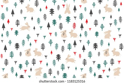 Beautiful cute pattern, of season nature life. Rabbits in the forest, wild life. Repeating and editable vector illustration file.