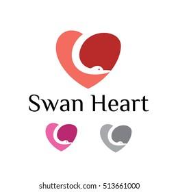 Beautiful Cute Pink Swan Heart Love Logo