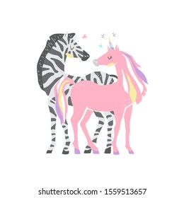 Beautiful cute pink unicorn and zebra. couple of unicorn and zebra in love. Isolated vector illustration
