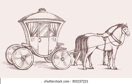Beautiful cute romantic classic ornate buggy gharry horse-drawn car with curtained window. Vector fairy tale freehand ink sketch background in art antiquity style pen on paper with space for text