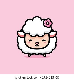 beautiful cute sheep with flower accessories