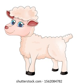 Beautiful cute sheep isolated on white background. Smiling happy character of animal in cartoon style for design. Sheep for farm concept. Vector illustration
