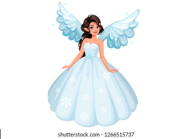 Beautiful cute snow fairy with long braided hairstyle wearing a long beautiful snowy dress on a white background vector illustration 2