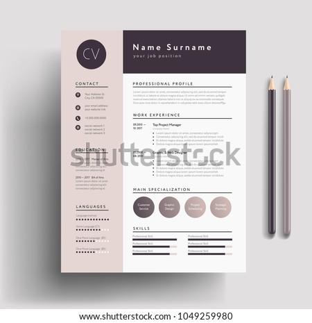 Beautiful Resume Templates | Beautiful Cv Resume Template Elegant Stylish Stock Vektorgrafik