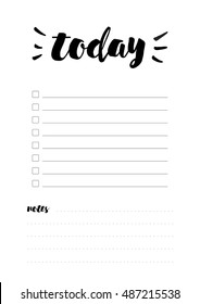 Beautiful Daily Planner vector template. Printable Daily check list design, ready to use. Cute typography schedule design A4 format.