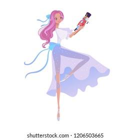 Beautiful dancer ballerina. Christmas cartoon illustration from Nutcracker's story. Cute cartoon character from winter tale and ballet.  Vector illustration.