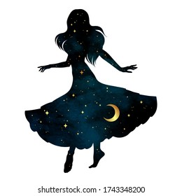 Beautiful dancing gypsy silhouette with crescent moon and stars isolated. Boho chic tattoo, sticker or print design vector illustration