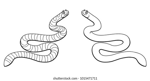 Beautiful, but dangerous striped black with gray a sea serpent line-art separately on a white background. Vector cartoon illustration, page coloring book