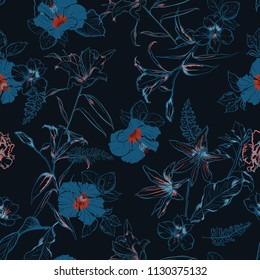 Beautiful dark forest in  hand drawn line sketch flowers lilly mix with hibiscus and many kind of  florals ,seamless pattern vector for fashion ,fabric, and all prints on navy blue background