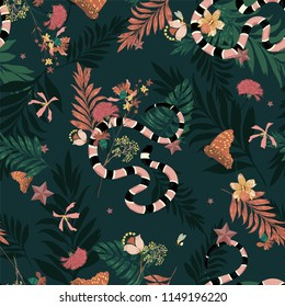 Beautiful dark forest in seamless pattern vector with snake , wild leaves ,flowers,insect,butterfly,bees for fashion and all prints on dark green background