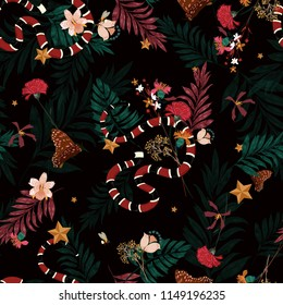Beautiful dark forest in seamless pattern vector with snake , wild leaves ,flowers,insect,butterfly,bees for fashion and all prints on black background