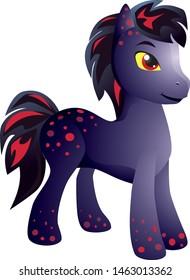 beautiful dark pony with pink spots
