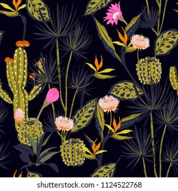 Beautiful Dark summmer night Seamless pattern vector tropical ,flower,bird of paradise and cactus forest ,hand drawing style for fashion,fabric and all prints on navy blue background.