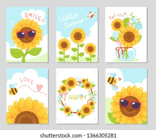 Beautiful day with sunflower, feeling fresh and fun. Set of rectangle gift tag, card, postcard. Lovely happy greetings. Vector illustration.