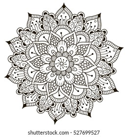 Beautiful Deco Floral mandala. Vector Round Ornament Pattern. Great choice for adult coloring page, kaleidoscope, medallion and other kind of design