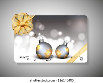 Beautiful decorated gift card with ribbon for Merry Christmas celebration. EPS 10.