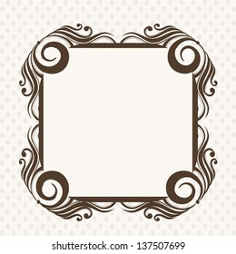 Beautiful decorated rectangle photo frame on abstract background.