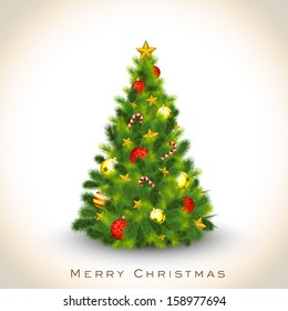 Beautiful decorated Xmas Tree on abstract background for Merry Christmas celebration background.