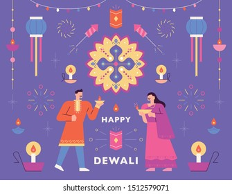 Beautiful decoration patterns of the diwali festival. Post card template.flat design style minimal vector illustration.
