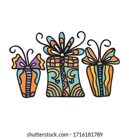 Beautiful decorative element. Pattern gifts. Vector illustration