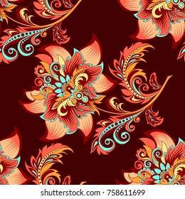 beautiful decorative flower ornament with red flowers on a dark background for design, colorful pattern with stylized abstract flowers in retro style for decoration