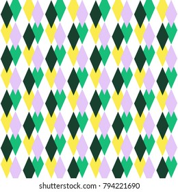 Beautiful decorative geometrical seamless pattern for carnival design.Festive multicolor background. Happy Mardi Gras.Perfect for site backgrounds, wrapping paper and fabric design.  Vector