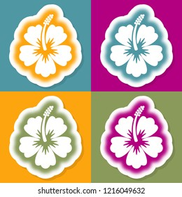 Beautiful decorative vector halftone hibiscus flower design template