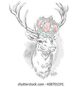 Beautiful deer in the crown. Vector illustration for a card or poster. Print on clothes. Hipster.