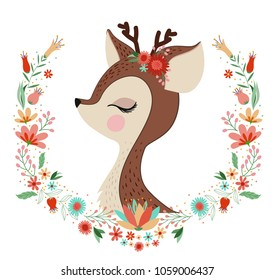beautiful deer with flower frame