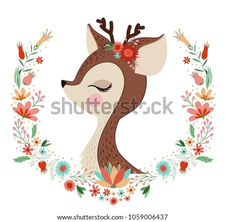 Beautiful Deer Flower Frame Stock Vector (Royalty Free) 1059006437 ...