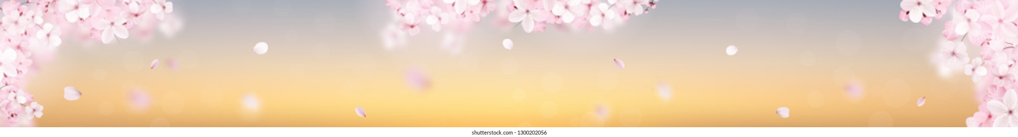 Beautiful delicate background with blossoming light pink sakura flowers. Panoramic glass panel, skinali. Delicate floral design. Vector illustration.