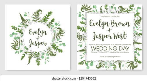 Beautiful delicate vector wedding invitation set, greeting card, save date. Frame of green leaves of fern, boxwood and eucalyptus sprigs isolated on white background . Watercolor