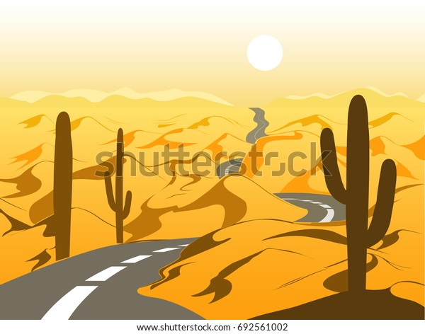 Beautiful desert landscape with asphalt road and cactus. Cartoon vector illustration. Yellow and brown palette