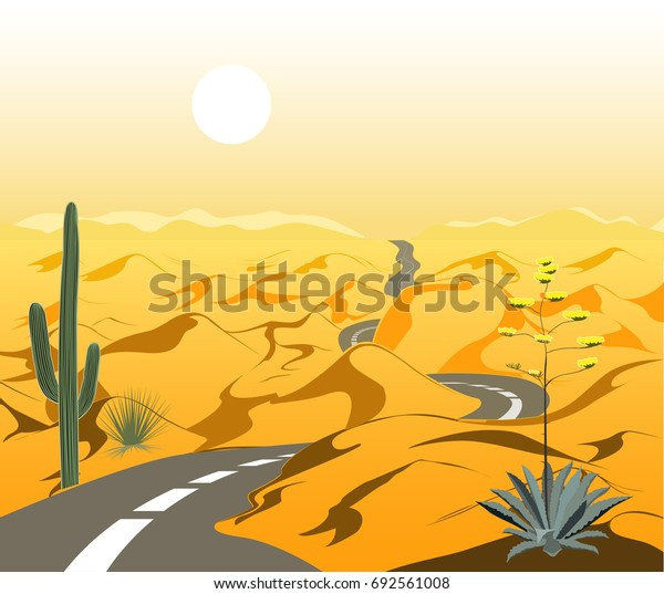 Beautiful desert landscape with waving asphalt road and cactus. Cartoon vector illustration. Yellow and brown palette
