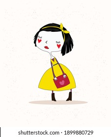beautiful design of a girl in the style of an old cartoon