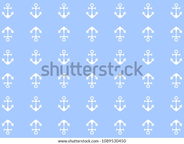Beautiful Design Sea Background White Anchors Stock Vector