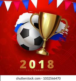 Beautiful design template mock up football 2018 world championship tournament soccer league. Soccer logo football with ball and golden cup with brush ink three color flag. Vector illustration
