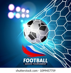 Beautiful design template mock up football championship season tournament soccer league.  Vector Soccer Ball with football mesh, goal  with brush ink russian flag