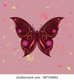 Beautiful designed colorful butterfly with swirls and flowers theme.