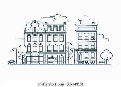 Beautiful detailed linear cityscape with various row townhouses, small town street with building facades thin line trendy illustration. Ideal for graphic, web and motion design