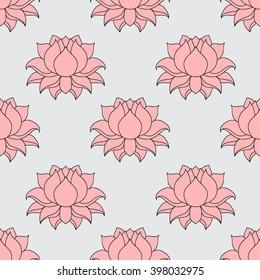Beautiful detailed lined lotus flower. Vintage decorative elements. Indian, Hindu motifs seamless pattern vector