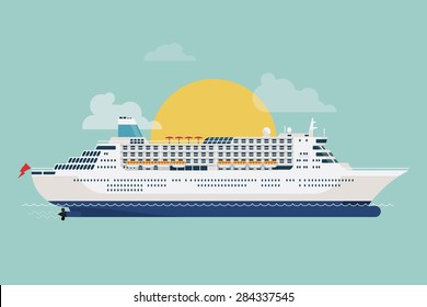 Beautiful detailed modern flat design vector transportation item with white cruise transatlantic liner ship and clouds with sun on background