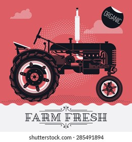 Beautiful detailed vector poster or web banner template on 'Farm Fresh' with classic retro farm field tractor. Ideal for craft and organic farming promotion and advertisement