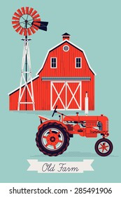 Beautiful detailed vector poster or web banner template on Old Farm with classic red wooden barn, water pump windmill and retro tractor. Ideal for craft and organic farming promotion and advertisement