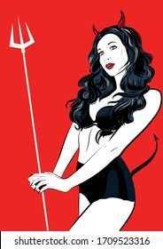 Beautiful devil girl with a pitchfork and tail. Vector illustration.