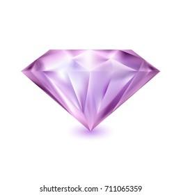 Beautiful diamond isolated on white background. Magic gemstone. Precious gem icon. Luxury symbol. Vector illustration.