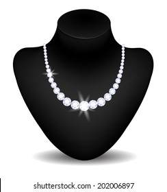 Beautiful diamond necklace on black mannequin isolated on white