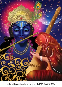 Beautiful digital vector painting of Lord Krishna and Devotee Meera playing long necked lute (Tambura) digital cloudy background illustration