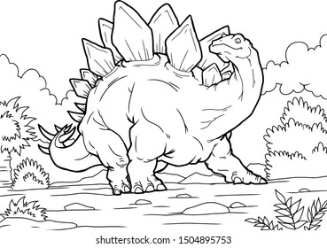 beautiful dinosaur, stegosaurus dinosaur, kind, kids coloring paint development. coloring book and page