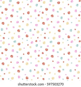 Beautiful ditsy floral seamless background. A lot of vector flowers in orange, green and pink colors on a white backdrop. Hand-drawn seamless pattern.